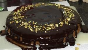 Chocoladetaart met pistachenootjes