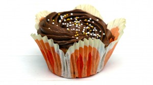Cupcake met bruine chocoladetoef