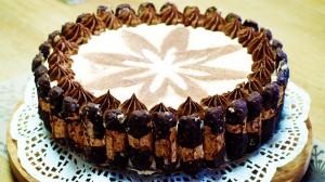 Totaalbeeld van bokkenpootjestaart met een bloem op de bovenkant
