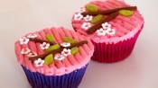 Japanse cupcakes met takjes, bloemetjes en blaadjes