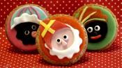 Sinterklaas en zwarte pieten op cupcakes