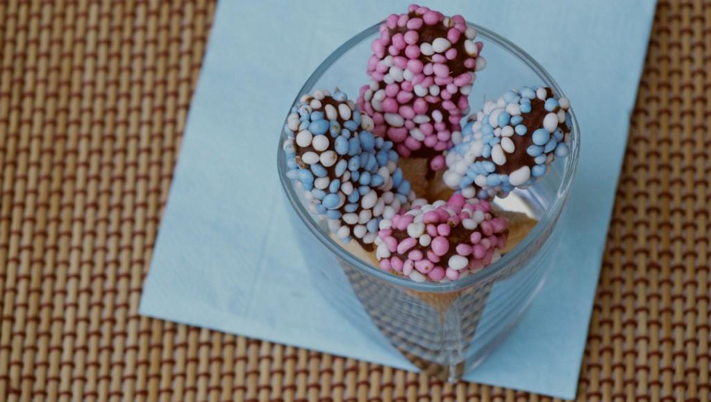 Lange vingers met chocola en muisjes